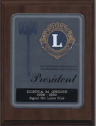 Exemplary performance plaque for service as Signal Hill Lions Club President