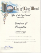 Recognition from Councilwoman Schipske for service to Long Beach Lifeguard Association